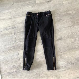 ZARA Moto Jeans Black Pants Womens Size 14